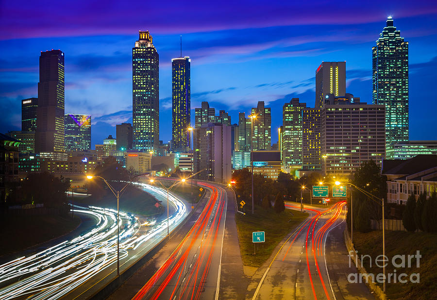 America Photograph - Atlanta Downtown By Night by Inge Johnsson