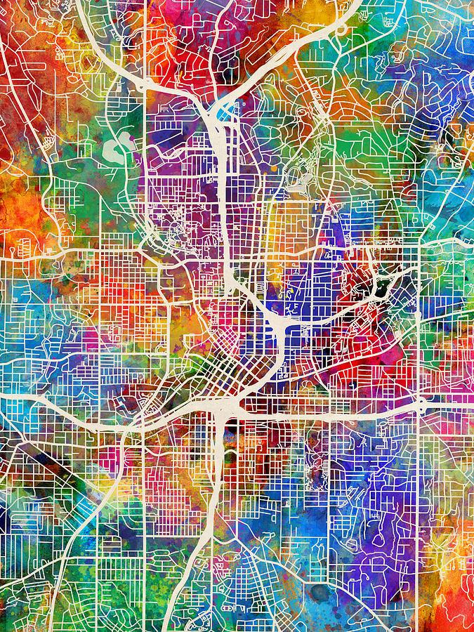 City Map Of Atlanta Georgia.Atlanta Georgia City Map Digital Art By Michael Tompsett