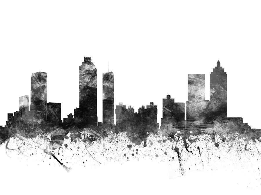 Atlanta Georgia Cityscape 02bw Drawing By Aged Pixel