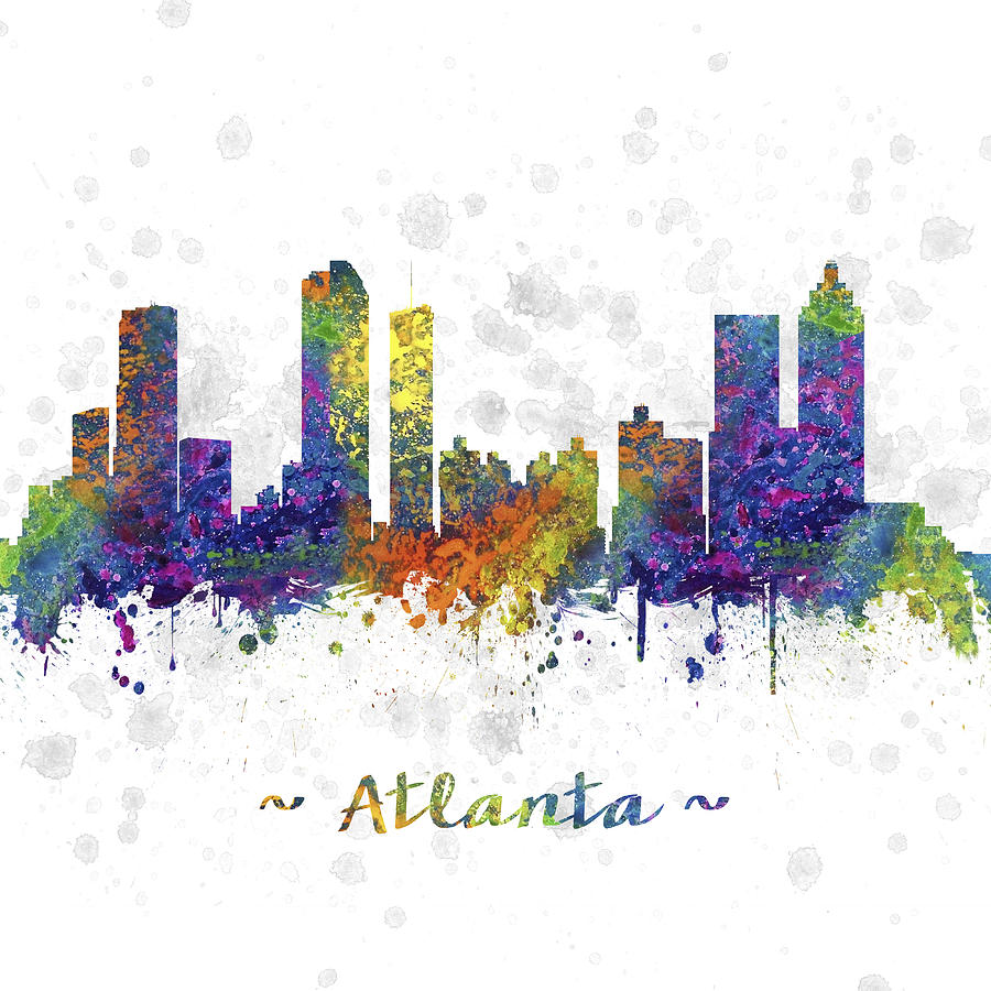 Atlanta Georgia Skyline Color 03sq Digital Art By Aged Pixel