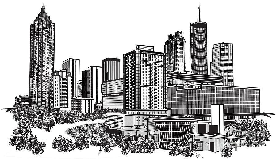Atlanta Drawing - Atlanta Georgia Vector by Doug LaRue