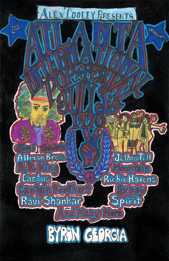 Atlanta Drawing - Atlanta International Pop Festival by David Sutter