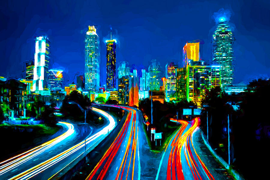 Atlanta night driving painting by theo westlake for Atlanta mural artist