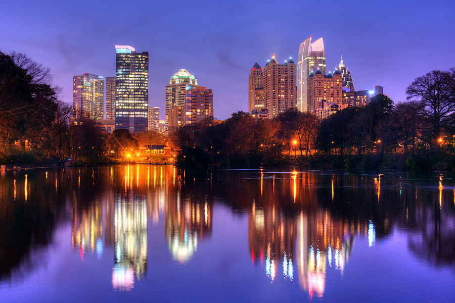 Atlanta Skyline at Dusk Midtown Color Piedmont Park by Jon Holiday