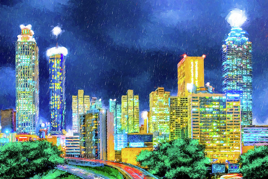 Atlanta Skyline At Night Mixed Media By Mark Tisdale
