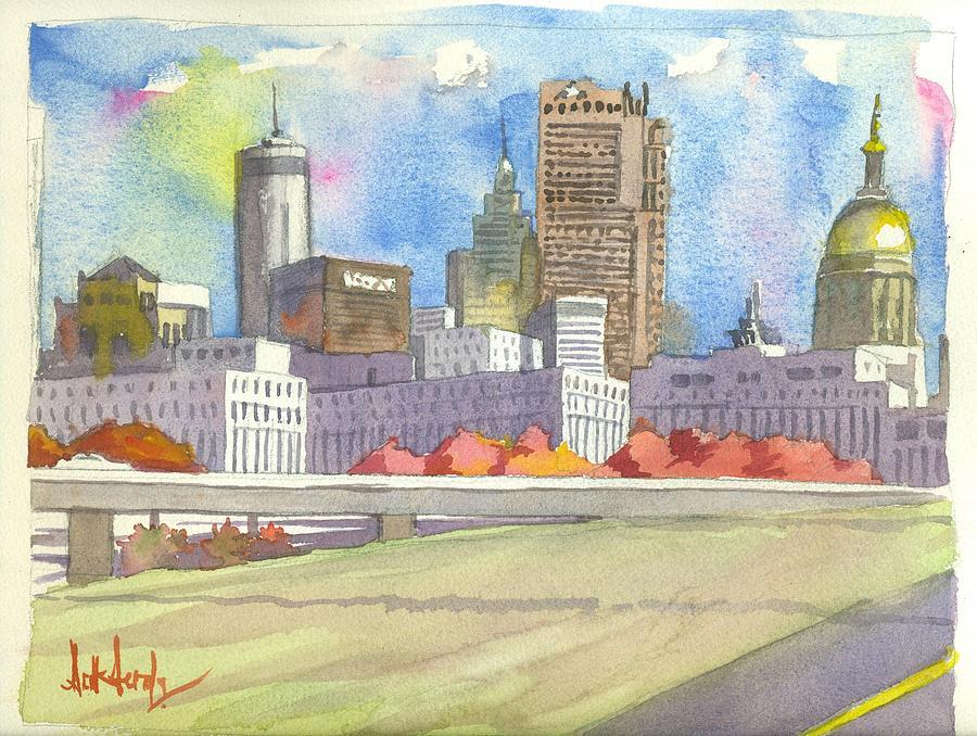 Atlanta Painting - Atlanta Skyline Color by Scott Serafy