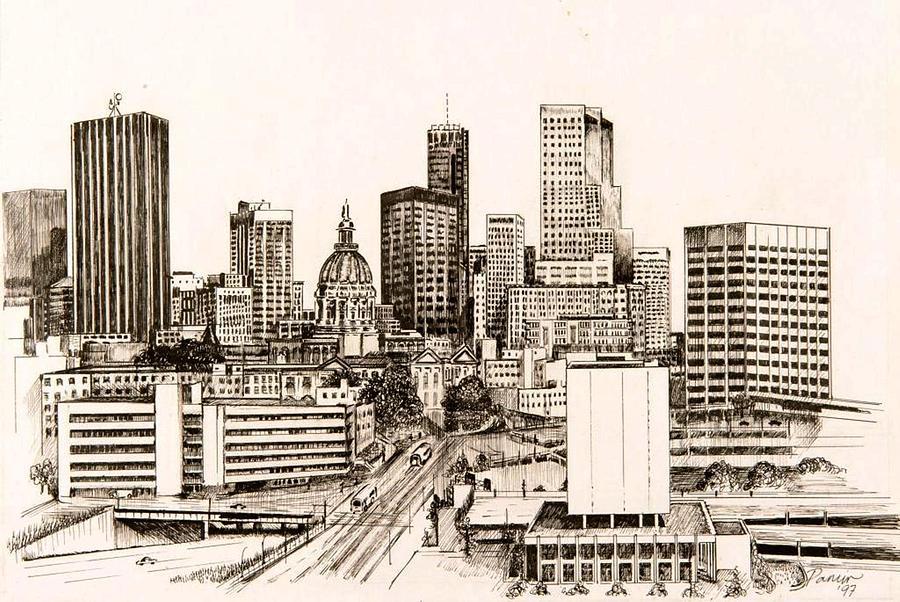 Atlanta Drawing - Atlanta Skyline by Pamir Thompson