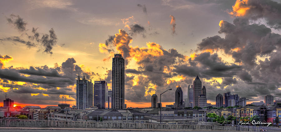 Atlantic Station Photograph - Atlanta Sunrise On Atlantic Station Commons And Midtown Atlanta by Reid Callaway