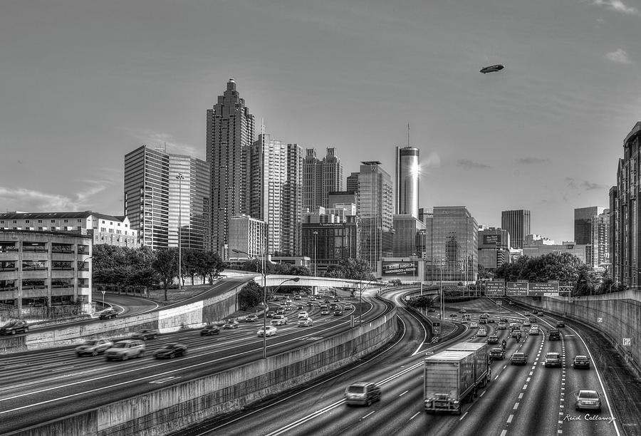 Downtown Atlanta Photograph - Atlanta Sunset Good Year Blimp Overhead Cityscape Art by Reid Callaway