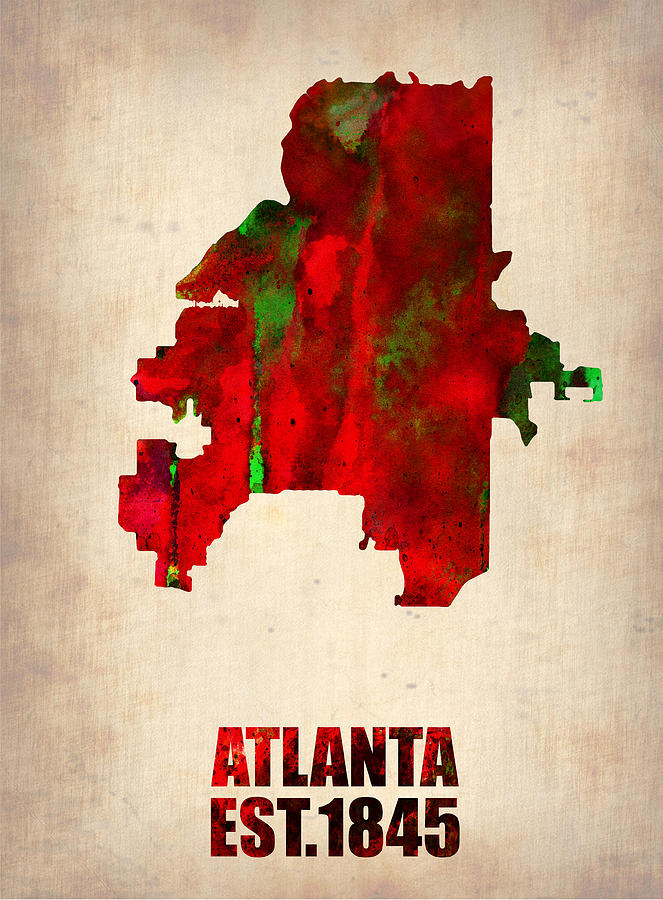 Atlanta Digital Art - Atlanta Watercolor Map by Naxart Studio