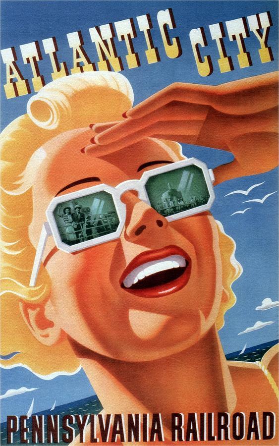 Atlantic City - Pennsylvania Railroad - Girl With Sunglasses - Retro Travel Poster - Vintage Poster Mixed Media