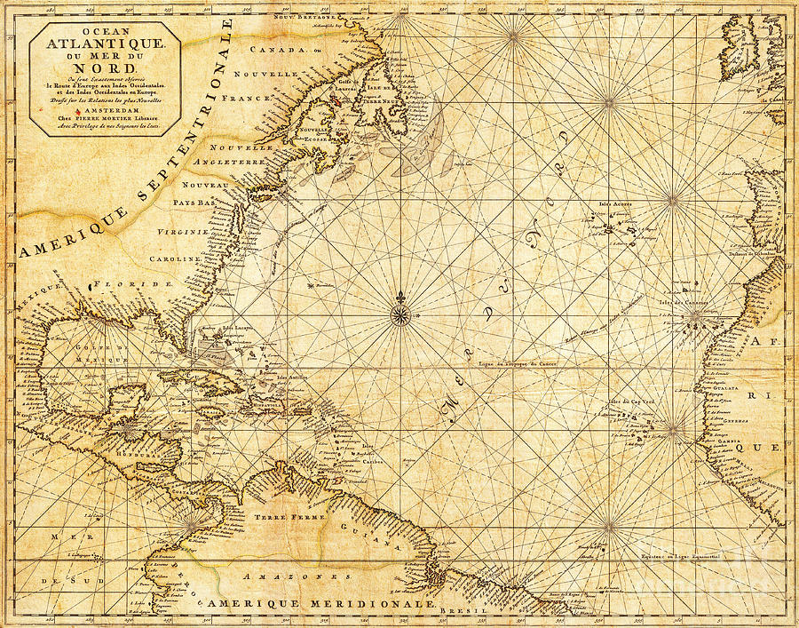 Atlantic Ocean Caribbean Sea Vintage Maritime Map Photograph by ...