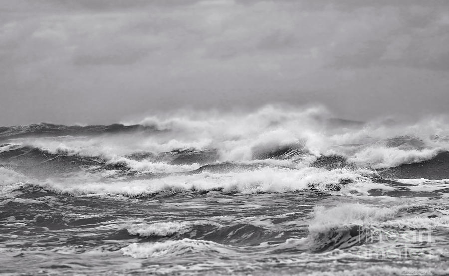 Seascape Photograph - Atlantic Storm In Black And White by Sandra Huston