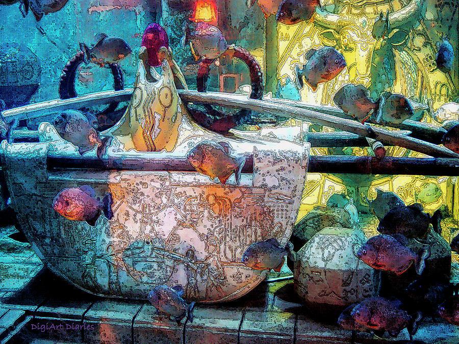 Bahamas Digital Art - Atlantis Aquarium In Watercolor by DigiArt Diaries by Vicky B Fuller