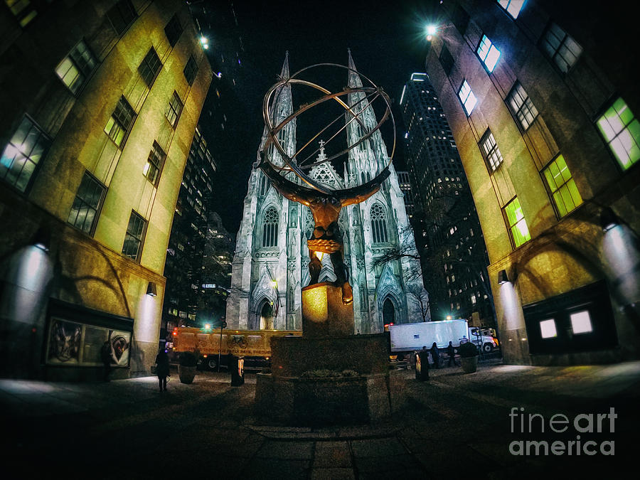 Atlas Statue and St.Patrick's Cathedral at Night Wide Angle by Nishanth Gopinathan