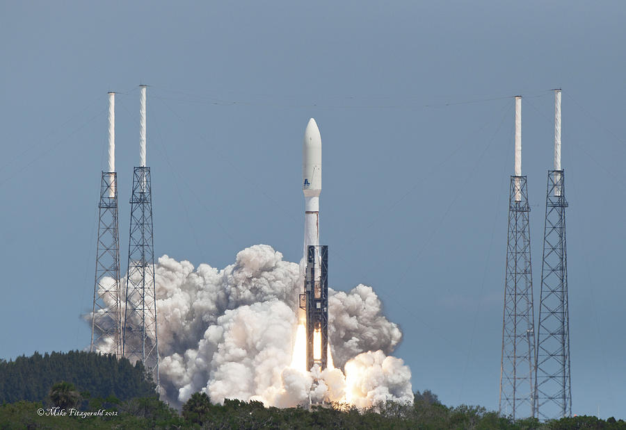 Florida Photograph - Atlas V Launch by Mike Fitzgerald