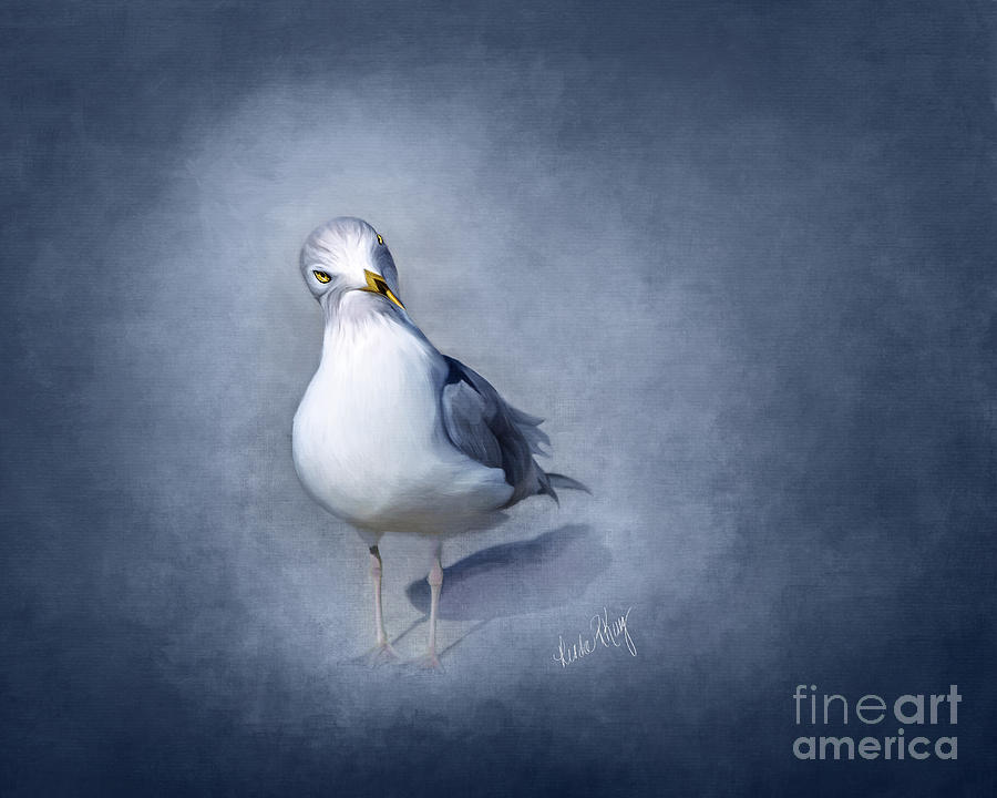 Seagull Painting - Atmospheric Seagull by Linda King