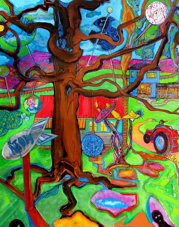 Atom Painting - Atom Family Farm by Lee Plate