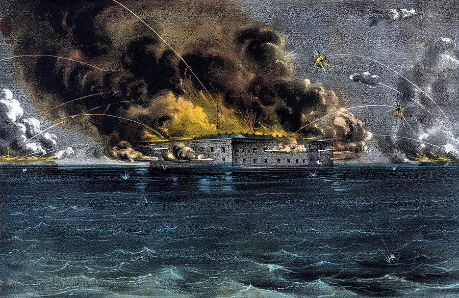 Civil War Painting - Attack On Fort Sumter by War Is Hell Store