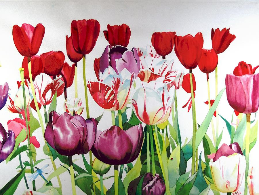 Tulips Painting - Attention by Elizabeth Carr
