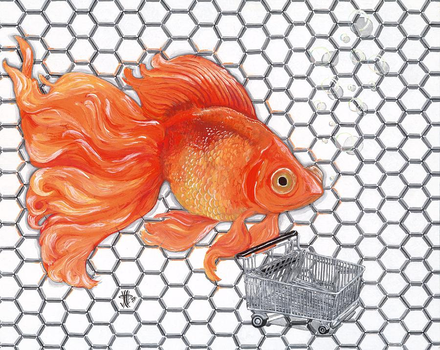 Fish Painting - Attention Goldfish Shoppers by Joshua Modlin