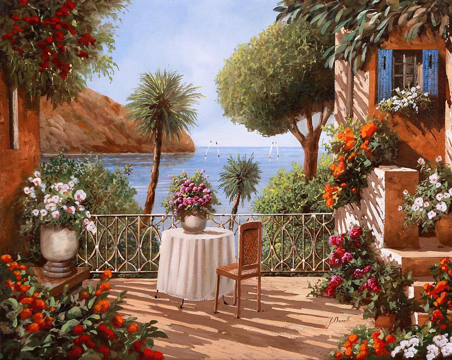 Terrace Painting - Aspettando Qualcuno by Guido Borelli