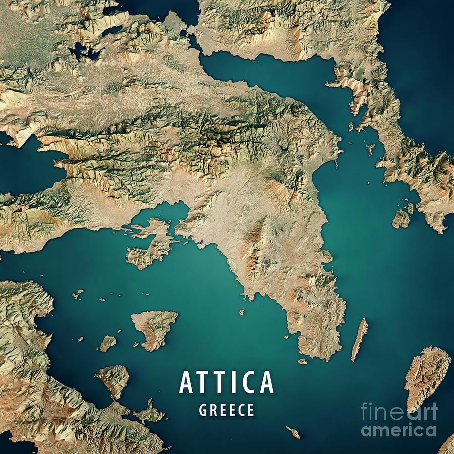 Attica Greece 3d Render Satellite View Topographic Map Digital Art