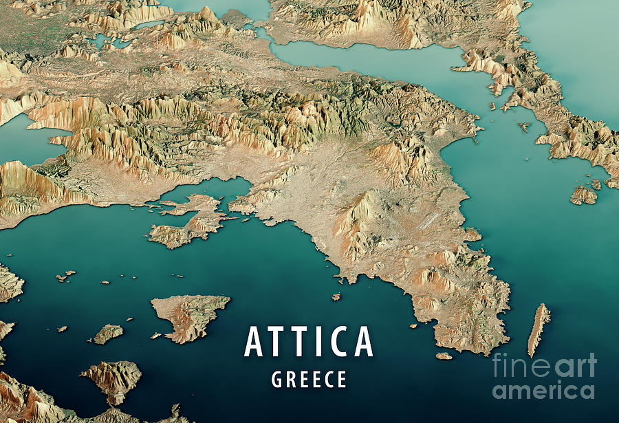 Attica Greece 3d Render Satellite View Topographic Map Horizonta