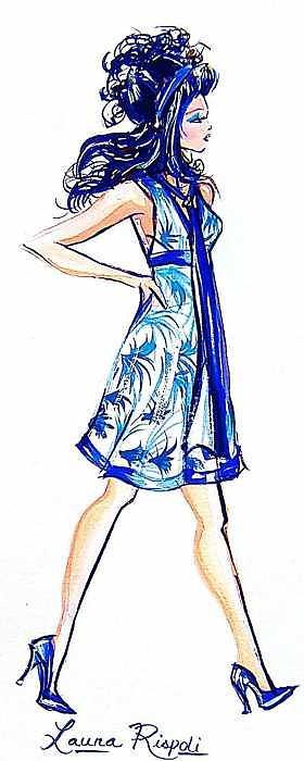Fashion Illustration Painting - Attitude by Laura Rispoli