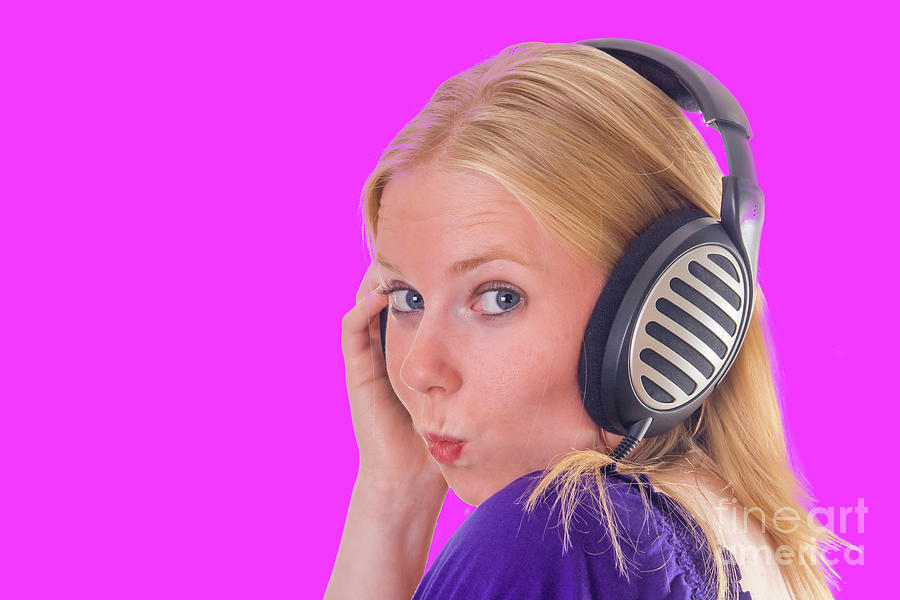 Attractive Girl With Headphones Photograph
