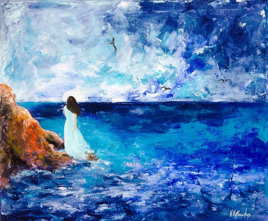Seascape Painting - Au Revoir  by Naeema Bacchus