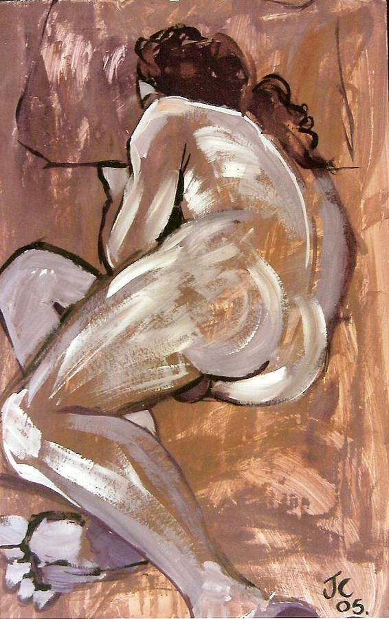 Male Nude Painting - Aubergine Male Nude by Joanne Claxton