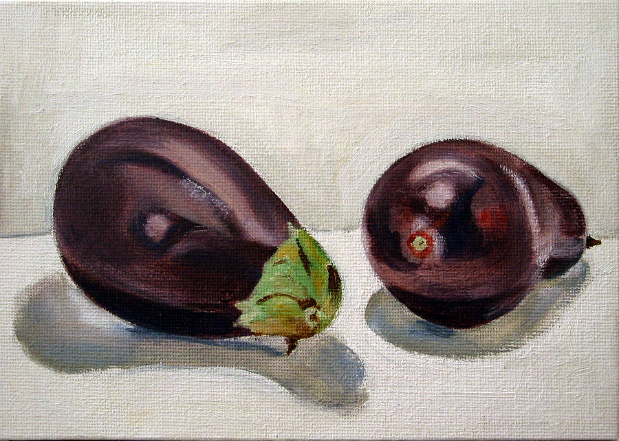 Still-life Painting - Aubergines by Sarah Lynch