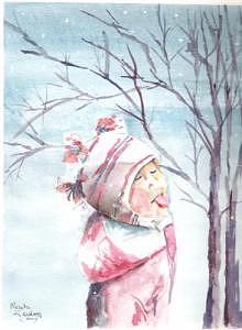Aubrie Catching Snowflakes Painting by Mark Keisling