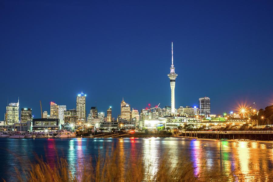 Auckland Photograph - Auckland At Dusk by Jose Maciel