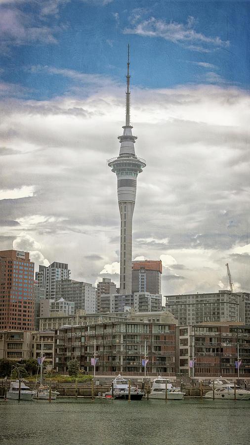 Joan Carroll Photograph - Auckland New Zealand Sky Tower Textured by Joan Carroll