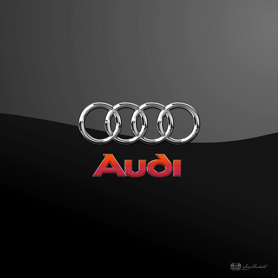Car Photograph - Audi 3 D Badge On Black by Serge Averbukh