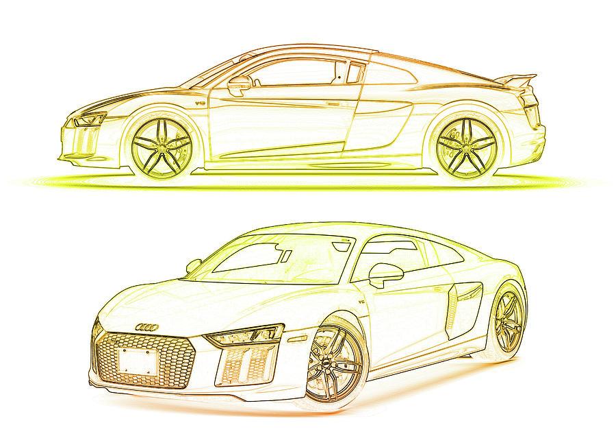 Audi R8 Sports Car by PixBreak Art