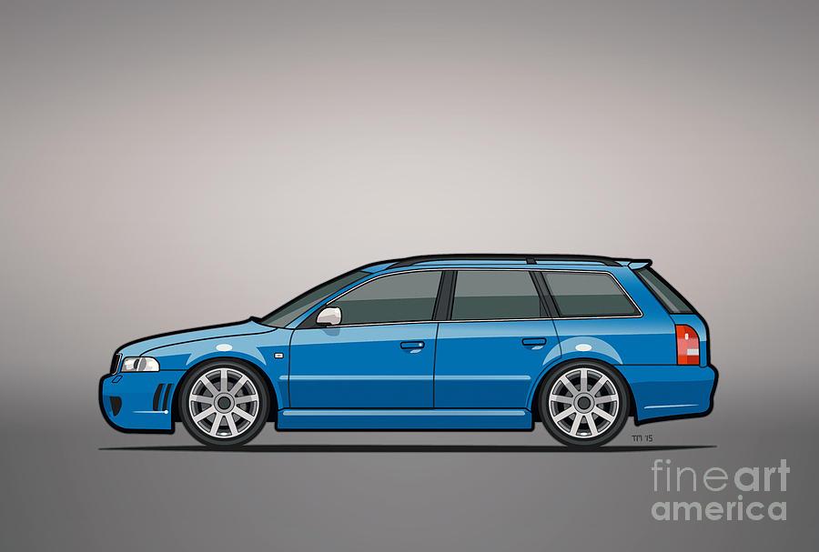 Station Wagon Mixed Media - Audi Rs4 A4 Avant Quattro B5 Type 8d Wagon Nogaro Blue by Monkey Crisis On Mars