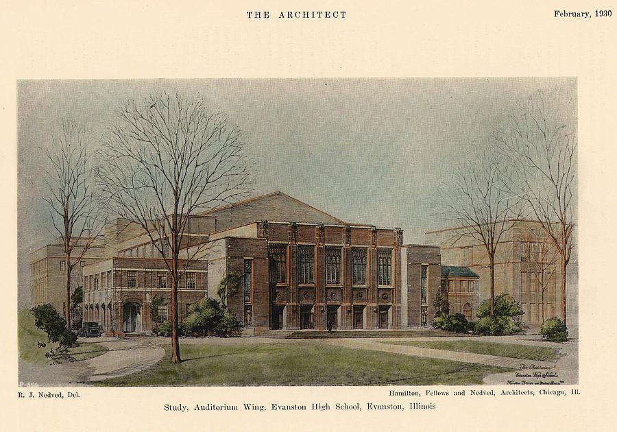 Auditorium Painting - Auditorium Of Evanston High School. Evanston Illinois 1930 by Hamilton and Fellows and Nedved