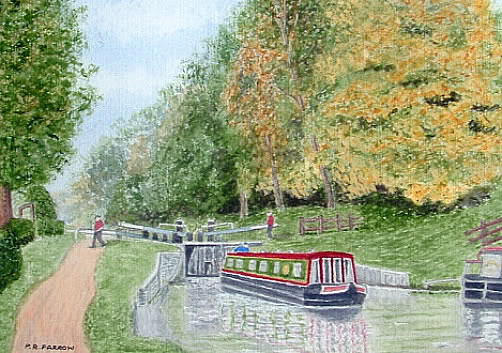 Audlem Lock, Shropshire Union Canal Painting by Peter Farrow
