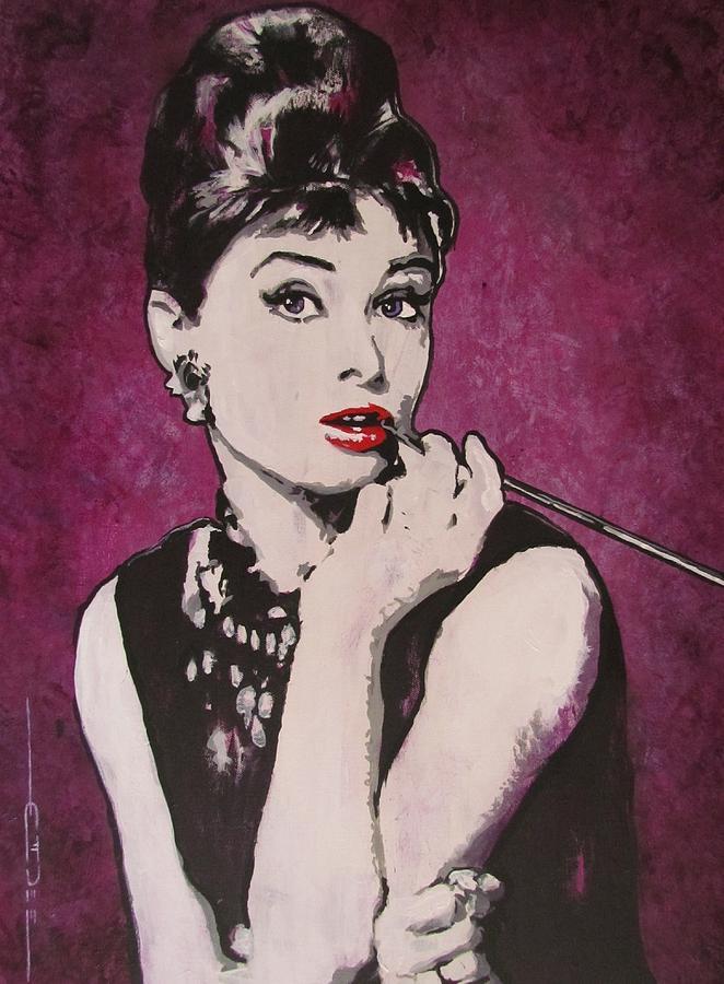 Audrey Hepburn May 4 1929 - Jan 20 1993 . Moon River. Breakfast At Tiffany's. Painting - Audrey Hepburn - Breakfast by Eric Dee