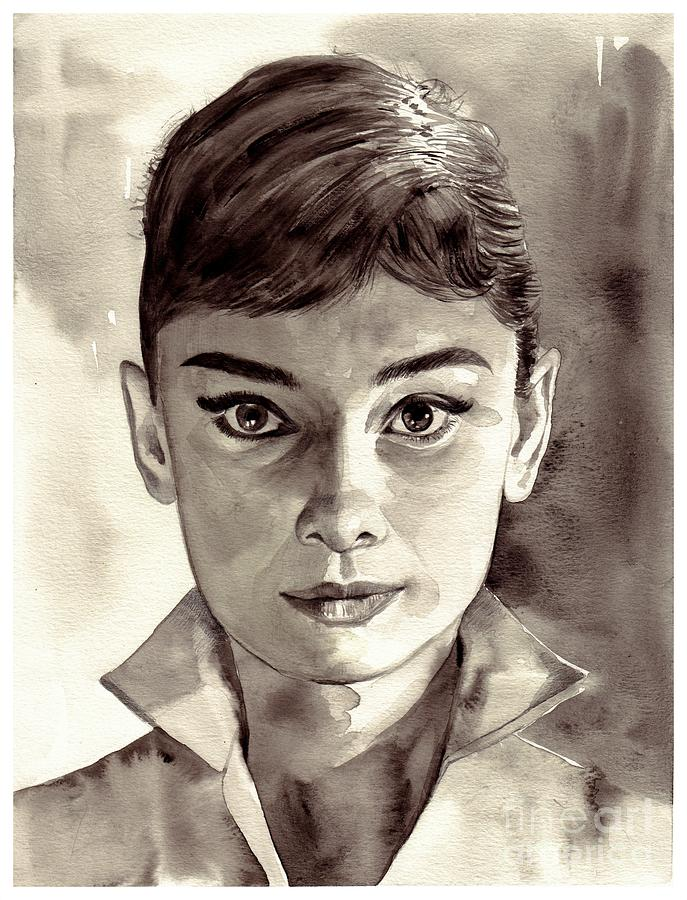 Audrey Hepburn Painting - Audrey Hepburn Black And White by Suzann Sines