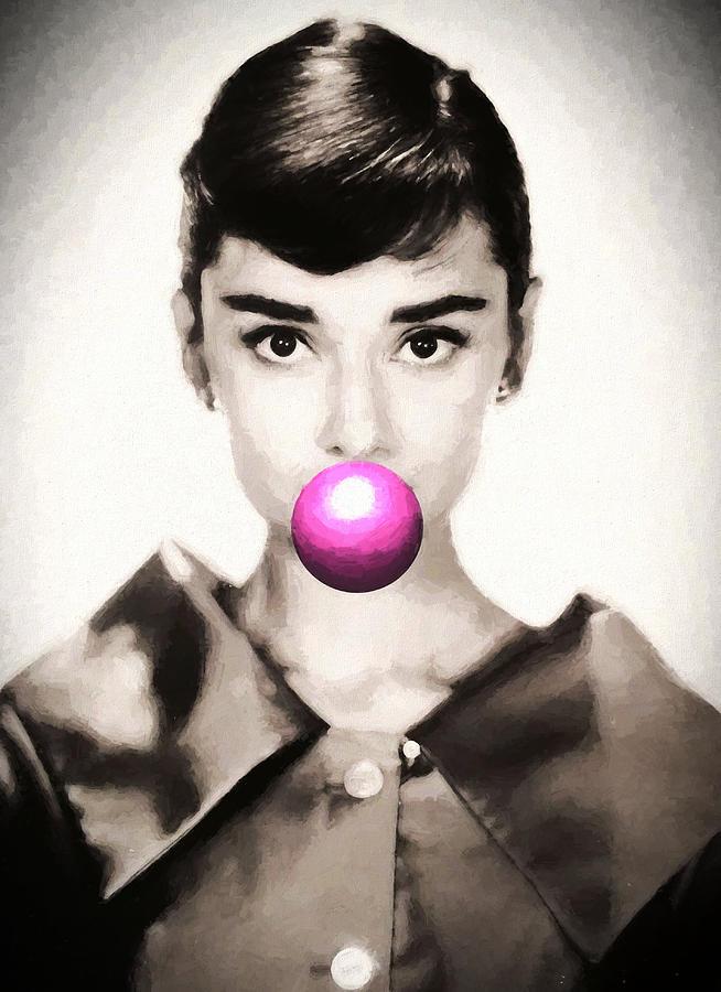 Graffiti Painting - Audrey Hepburn Bubblegum by Dan Sproul