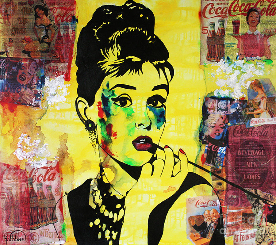 Audrey Hepburn / Coca-cola Mixed Media