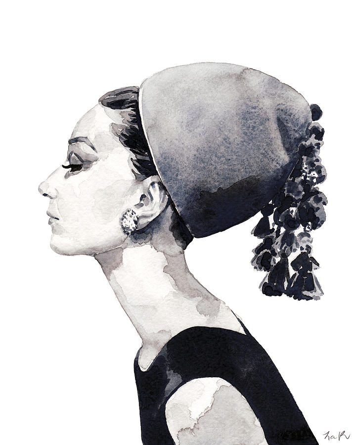 Audrey painting audrey hepburn for vogue 1964 couture by laura row