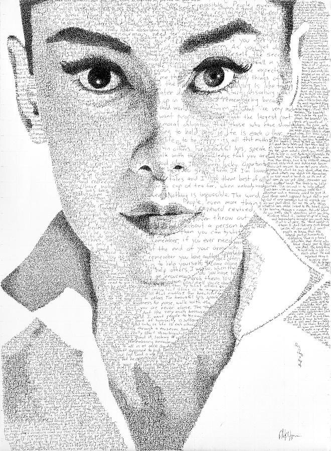 Audrey Hepburn Painting - Audrey Hepburn In Her Own Words by Phil Vance