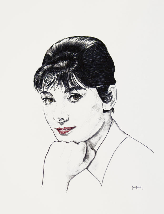 Celebrity Drawing - Audrey Hepburn by Martin Howard