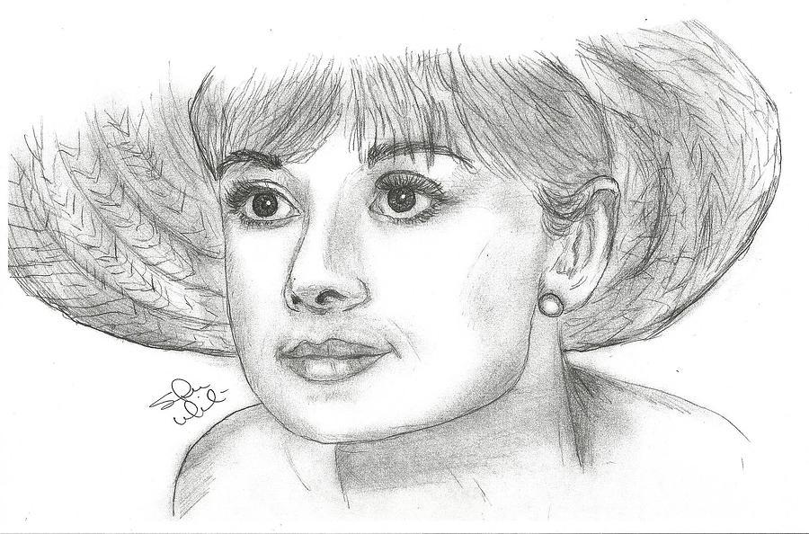 Audrey Hepburn Drawing - Audrey Hepburn Smile by Steven White