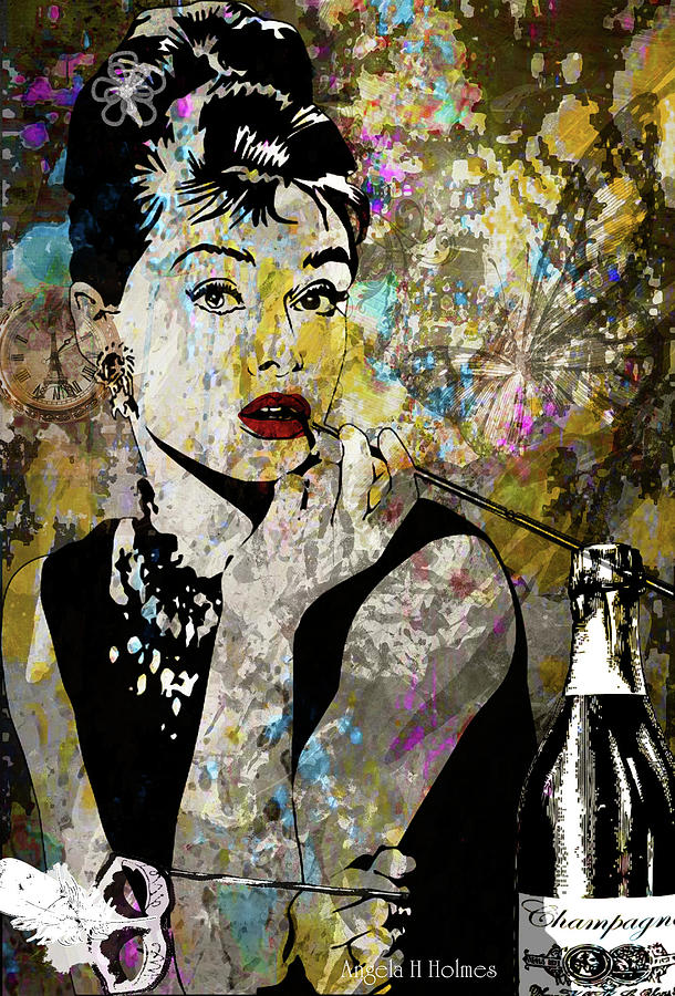 Glamour Mixed Media - Audrey Hepburn Tribute  by Angela Holmes